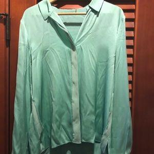 Elie Tahari Minty Blue Green Raw Edge Blouse L
